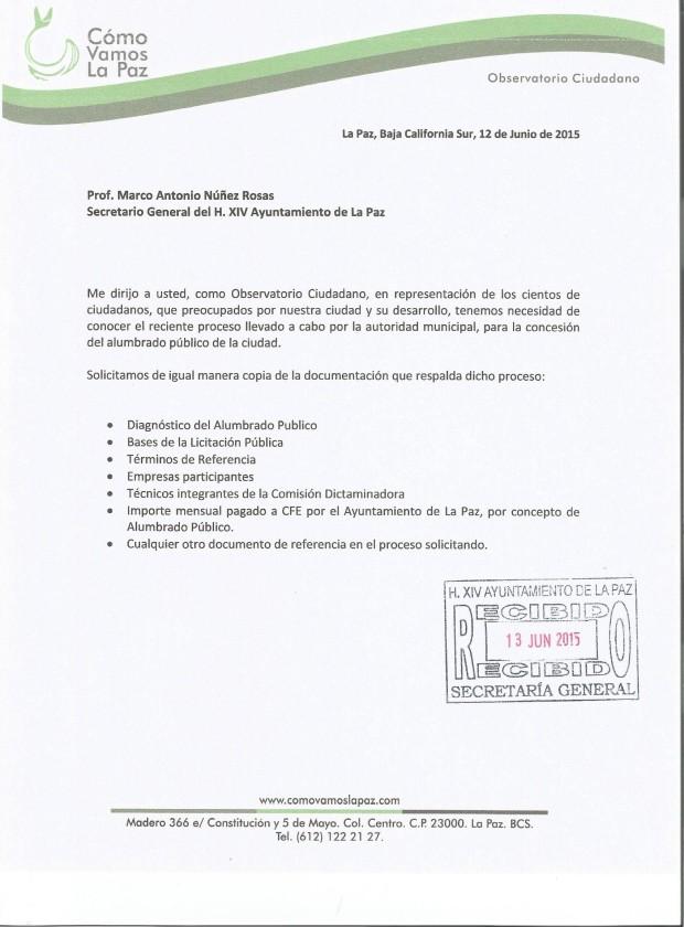 Carta dirigida a Prof. Marco Antonio Núñez Rosas  Secretario General del H.XIV Ayuntamiento de La Paz.