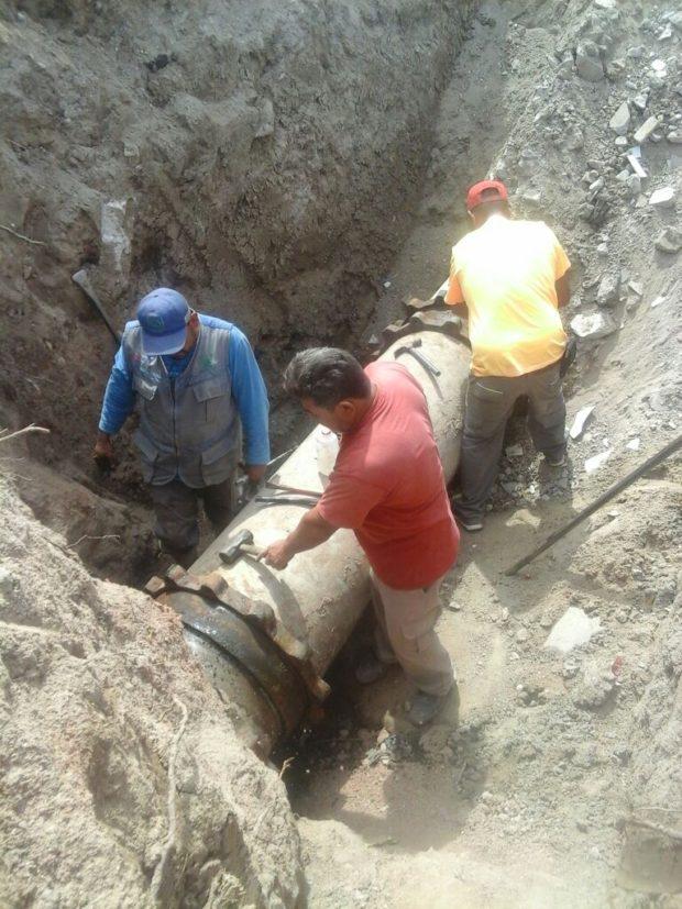 SAPA La Paz realiza  reparación de tuberías en Centenario y Chametla.